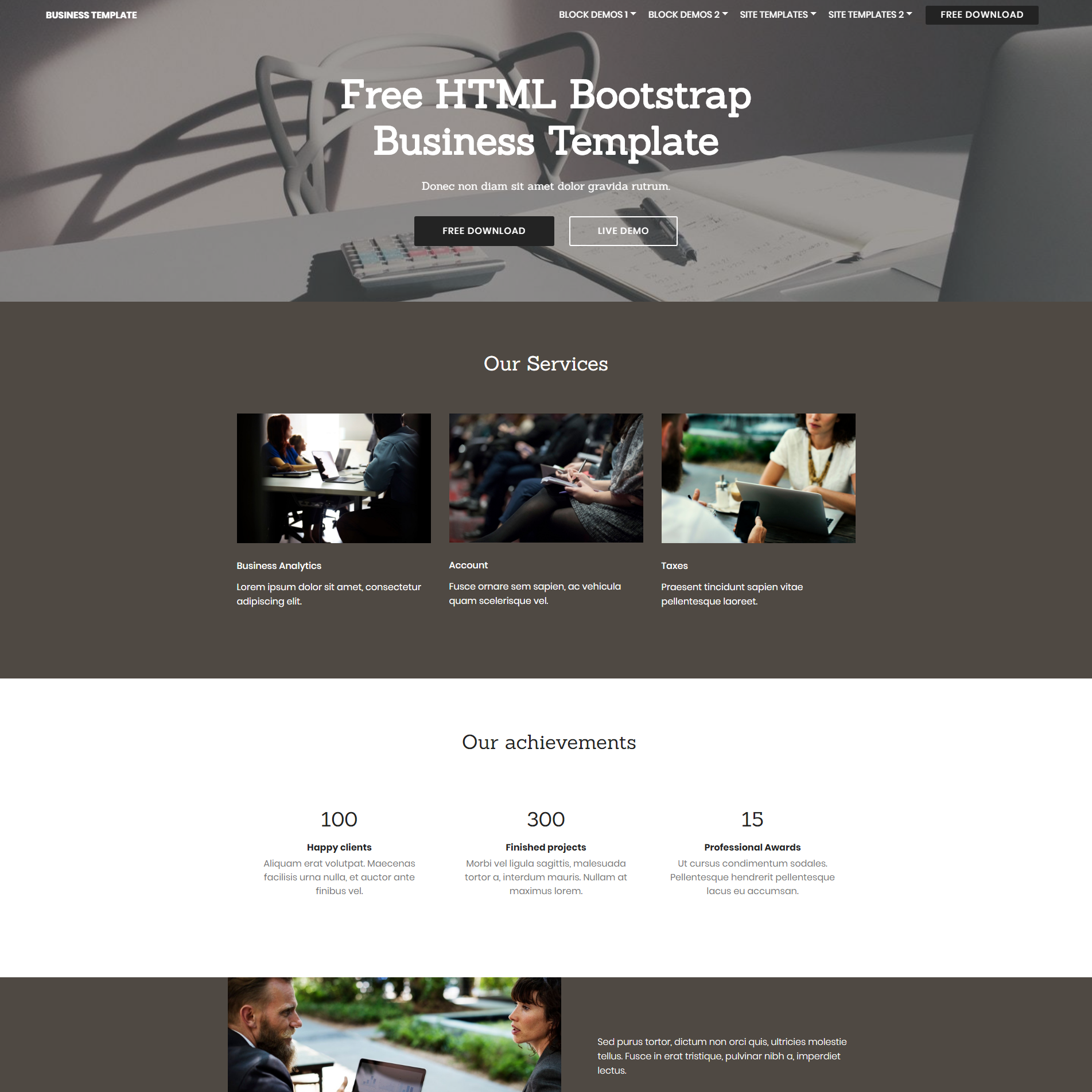 Free Download Bootstrap Busines Templates
