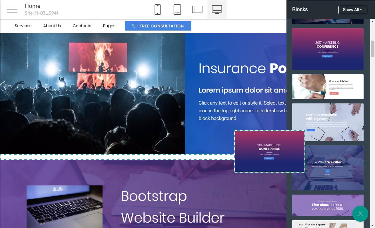 Bootstrap Template Builder